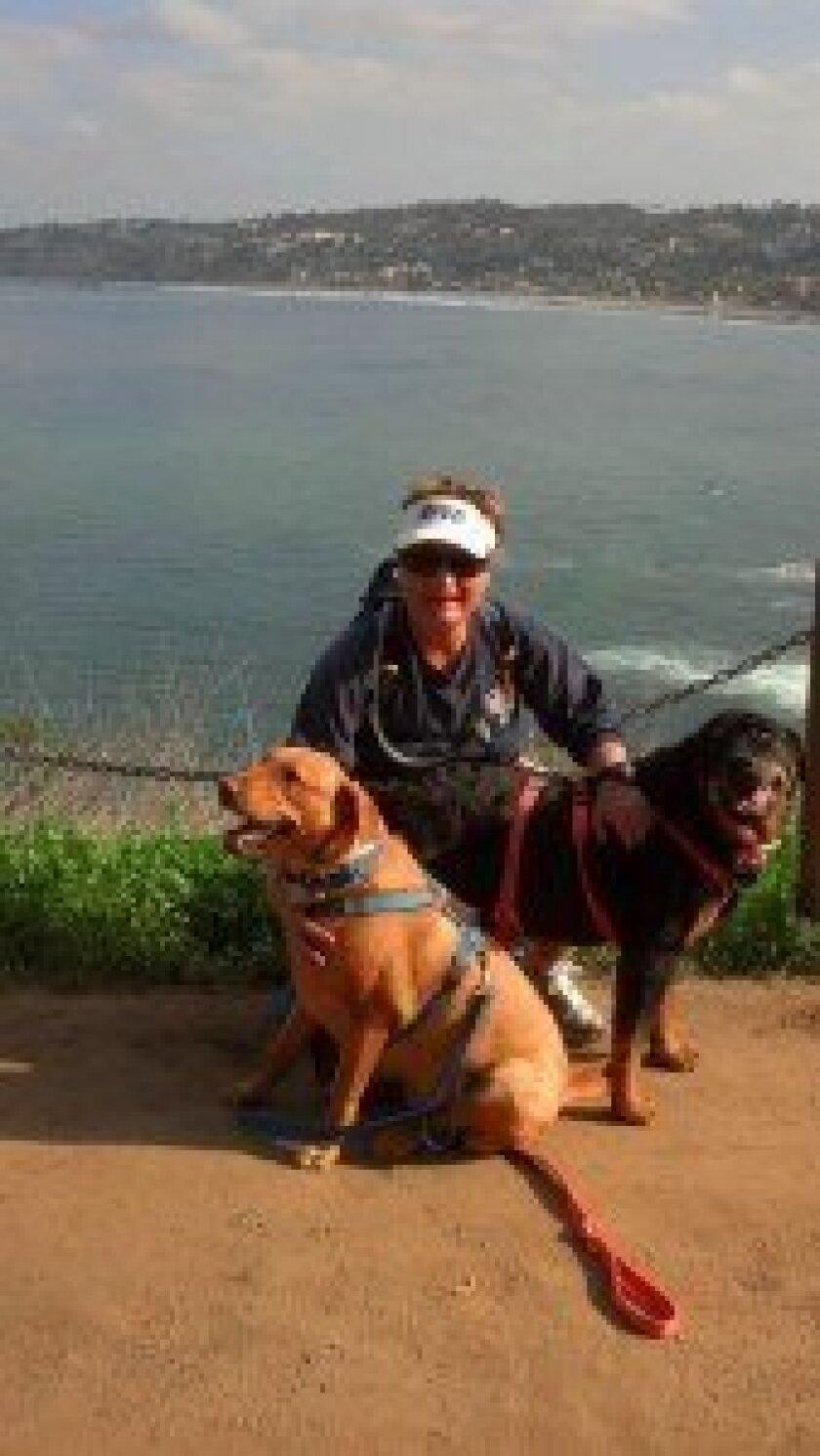 Julie swain takes Luke and Klaus on a coast walk. Courtesy