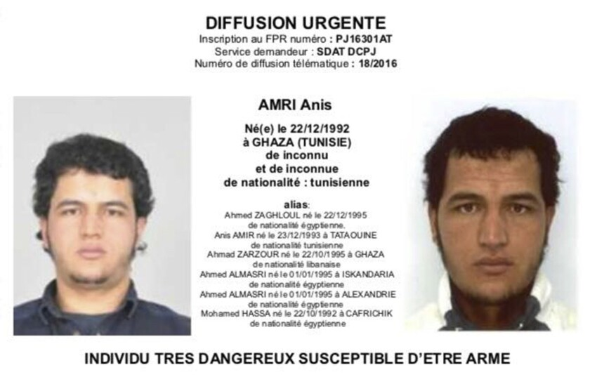 An alert distributed in Europe warns authorities to be on the lookout for Tunisian national Anis Amri, who is a suspect in the Berlin Christmas market attack.