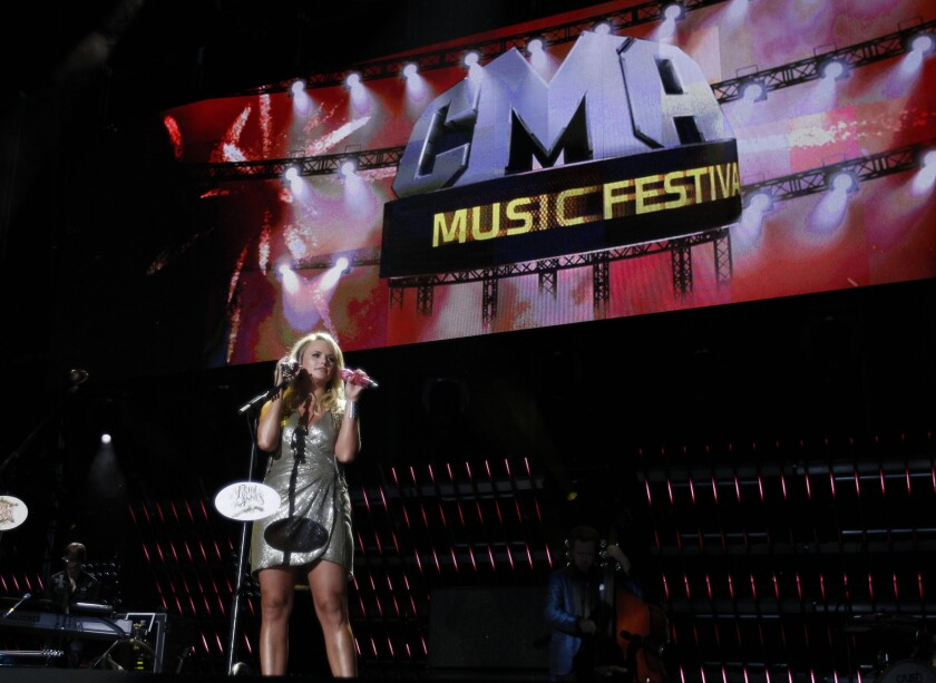 FILE - Miranda Lambert performs during CMA Fest in Nashville, Tenn. on June 12, 2011. The country music festival will be cancelled for a second year in a row due to the COVID-19 pandemic. The festival is one of the oldest country music festivals after starting in 1972. (AP Photo/Wade Payne, File)
