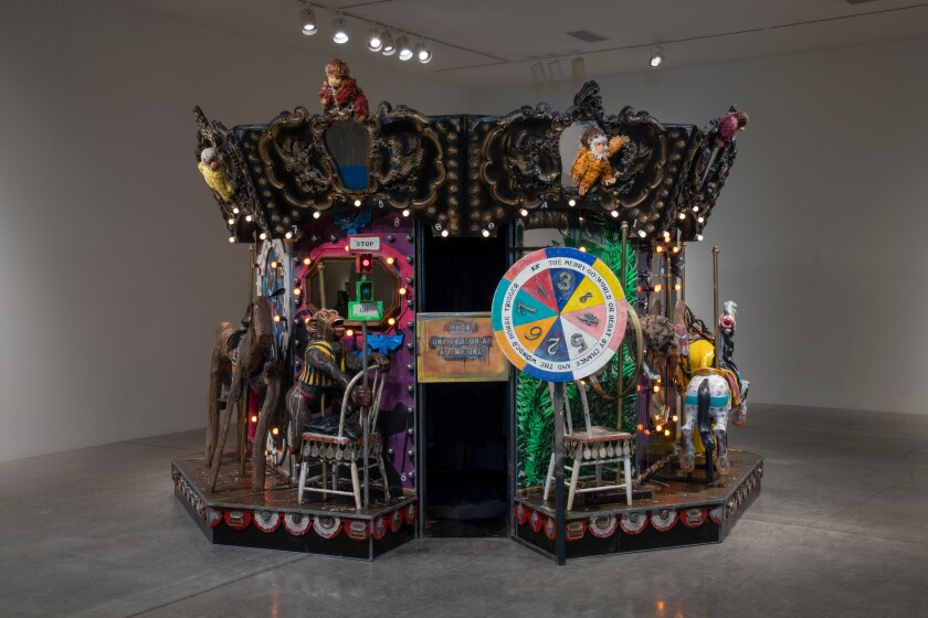 "Edward & Nancy Reddin Kienholz, ""The Merry-Go-World or Begat by Chance and the Wonder Horse Trigger,"" 1988-1992. Mixed-media tableau, 115 inches by 184 inches."