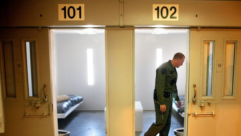 Two inmates were found dead inside their cells Saturday morning at Salinas Valley State Prison. In this file photo, a lieutenant is pictured inside a single-occupancy cell at the prison.