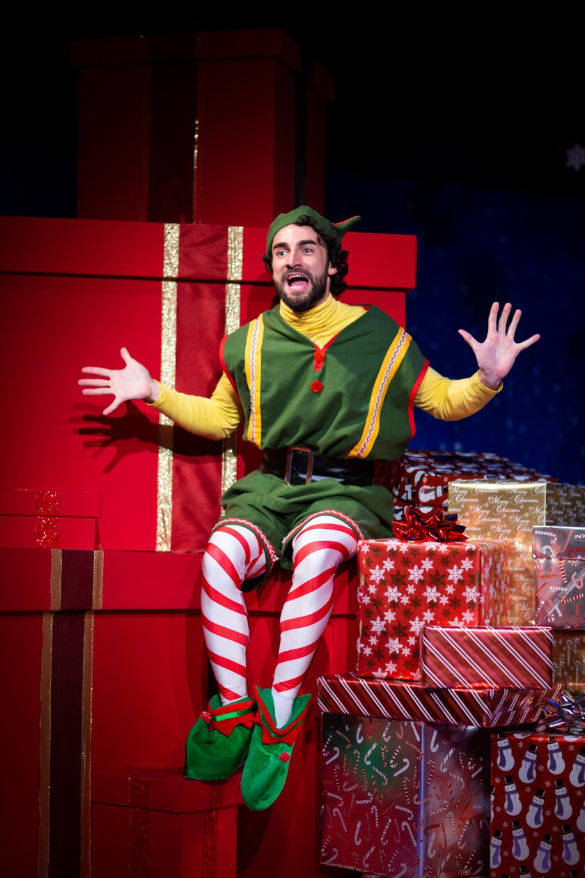 "Wil Bethmann stars as Crumpet the elf in ""The Santaland Diaries"" at Diversionary Theatre in San Diego."
