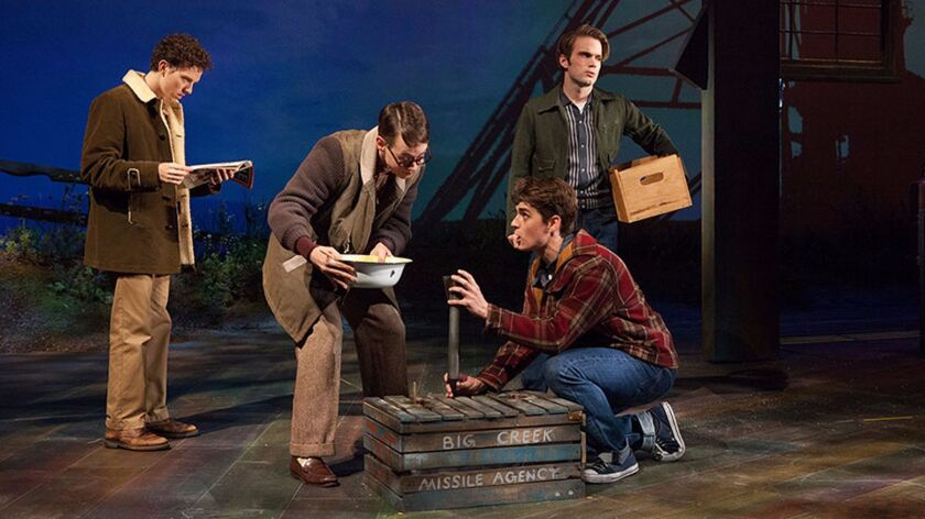 Austyn Myers as O'Dell, Connor Russell as Quentin, Kyle Selig as Homer Hickam, and Patrick Rooney as Roy Lee in the West Coast premiere of 'October Sky' at The Old Globe.
