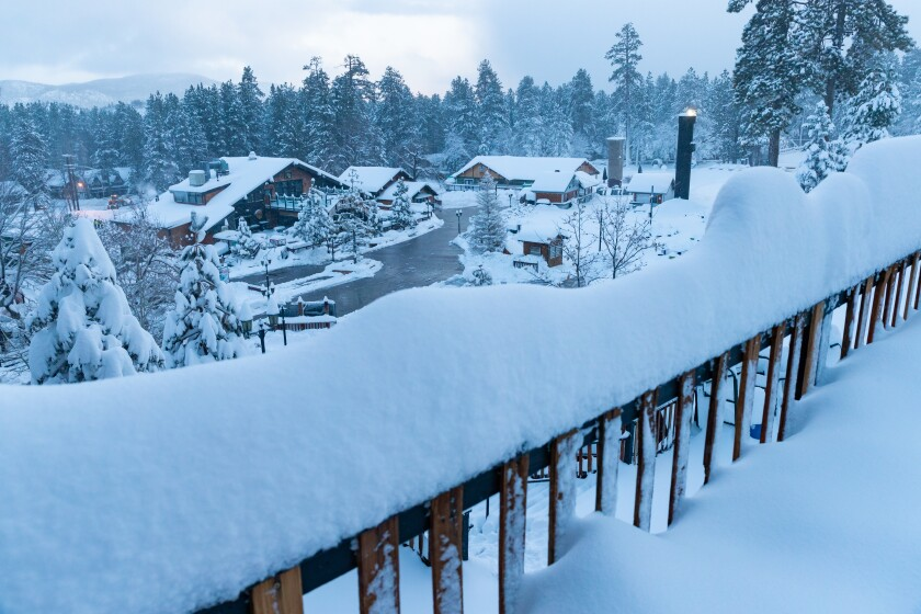 Big Bear Mountain Resort awakened to 18 more inches of snow Friday morning, and snow was expected until Friday night.