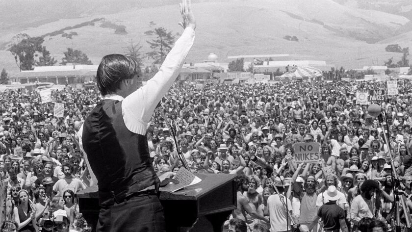 California Gov. Jerry Brown addresses a crowd of about 25,000 people during a June 1979 rally protesting the opening of nearby Diablo Canyon Nuclear Power Plant in San Luis Obispo.