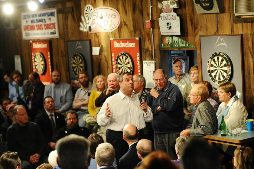 Gov. Chris Christie hosts a town hall at Shooters Sports Pub in Exeter, NH on Friday, April 17, 2015. (Tyson Trish/The Record of Bergen County via AP)