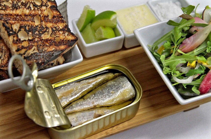 Spanish can 'o' sardines, served with salad, house-churned butter and grilled bread at Acabar.