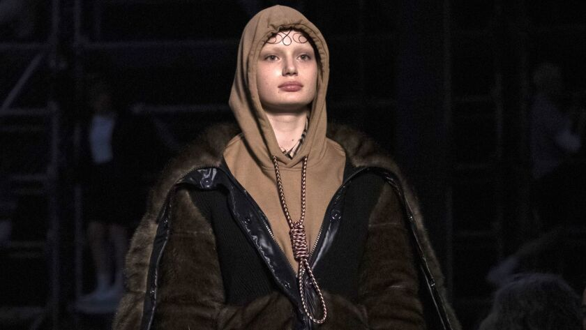A model wears a controversial look from Burberry at the brand's autumn/winter 2019 fashion week runway show in London.