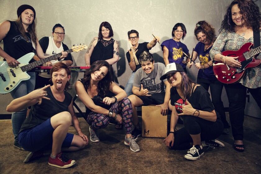 Ladies Rock San Diego is an intensive rock camp for women in which participants learn an instrument, form a band, compose an original song, and then perform it live to an audience in just 72 hours.