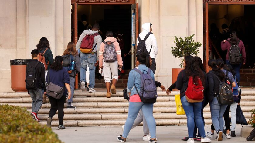 L.A. Unified requires daily random searches for weapons using metal-detector wands at all of its middle and high school campuses, including Hamilton High.