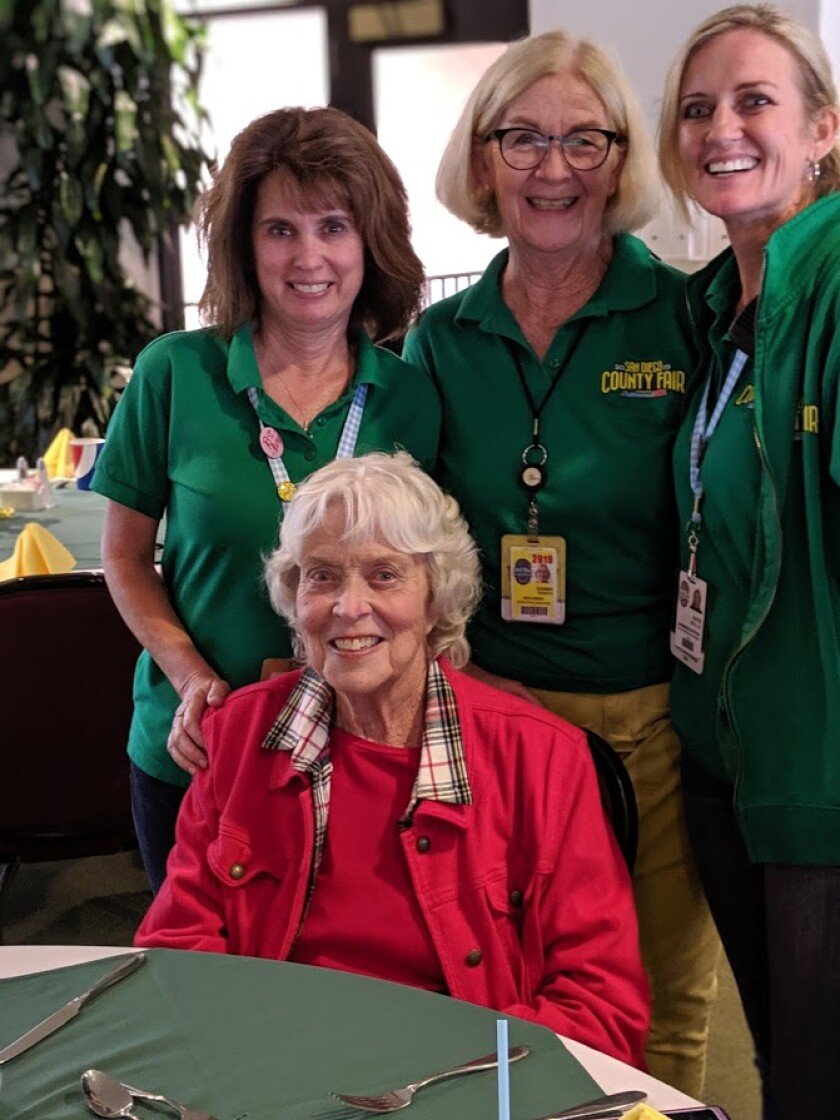 Seated: Jill Coughlin. Standing: Jackie Esheby, exhibit director; Don Diego Scholarship Foundation Executive Director Chana Mannen, who created Plant*Grow*Eat; Katie Mueller, Del Mar Fairgrounds deputy manager.<br>