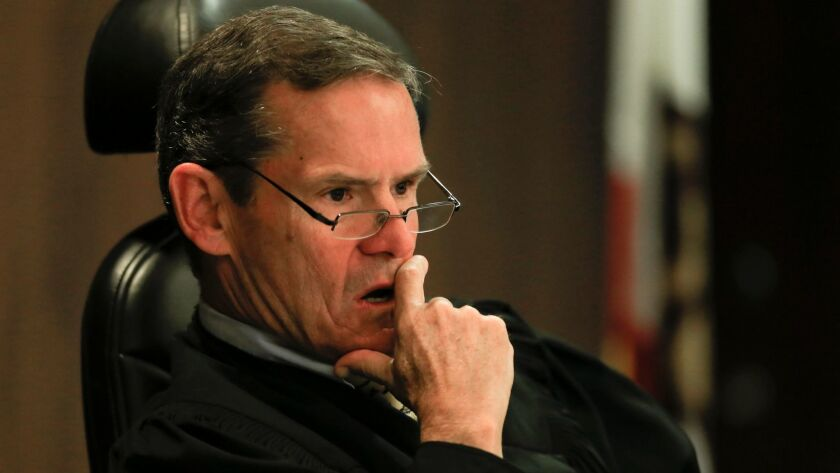 SANTA ANA,CA.,MARCH 18, 2014: Judge Thomas Goethals listens to arguements during a motion hearing th