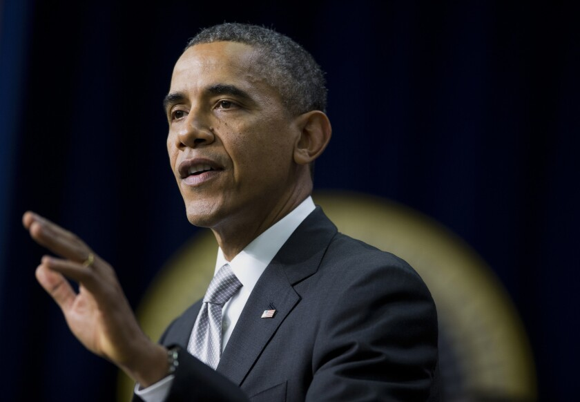 President Obama speaks about the new healthcare law in the Eisenhower Executive Office Building in Washington, D.C.