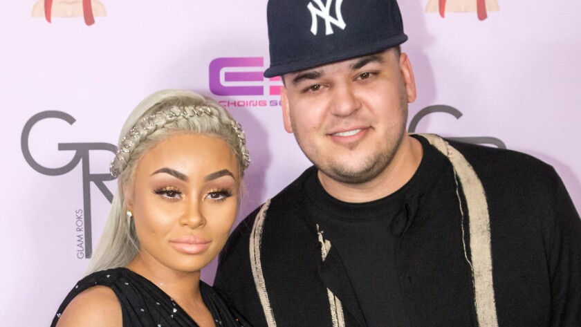 Blac Chyna and Rob Kardashian make an appearance at the Hard Rock Cafe on May 10, 2016, in Hollywood.