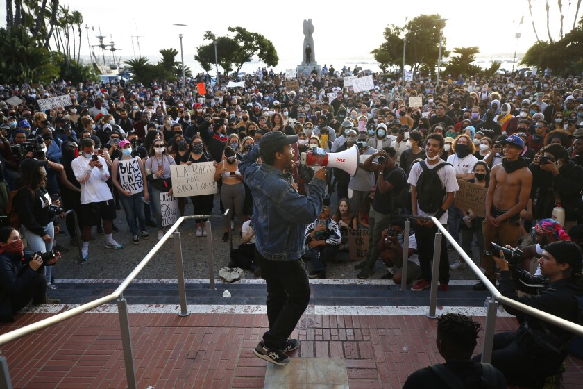 Haki Saliim spoke to hundreds protesting the death of George Floyd at the County Administration building Saturday.