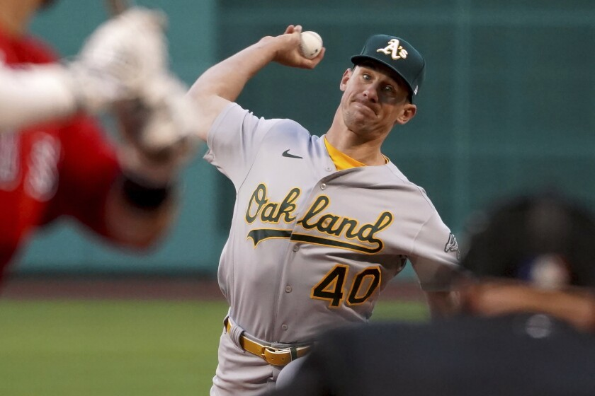 Oakland Athletics starter Chris Bassitt (40) pitches to a Boston Red Sox batter during the first inning of a baseball game Tuesday, May 11, 2021, in Boston. (AP Photo/Mary Schwalm)
