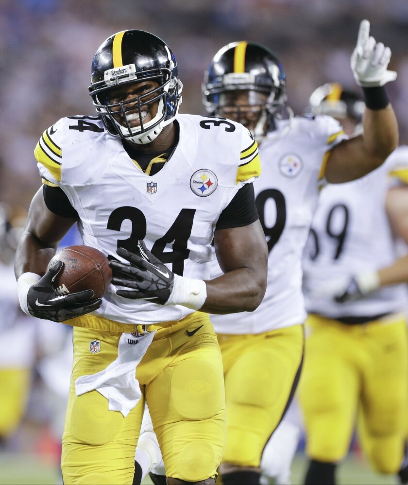 Pittsburgh Steelers linebacker Howard Jones (34) reacts as he crosses the goal line for a touchdown after running back a New York Giants fumble in the fourth quarter of a preseason NFL football game, Saturday, Aug. 9, 2014, in East Rutherford, N.J. (AP Photo/Frank Franklin II)