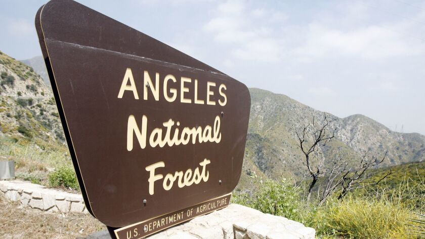 A sign for the Angeles National Forest above La Canada Flintridge on Highway 2 on Monday, June 4, 20