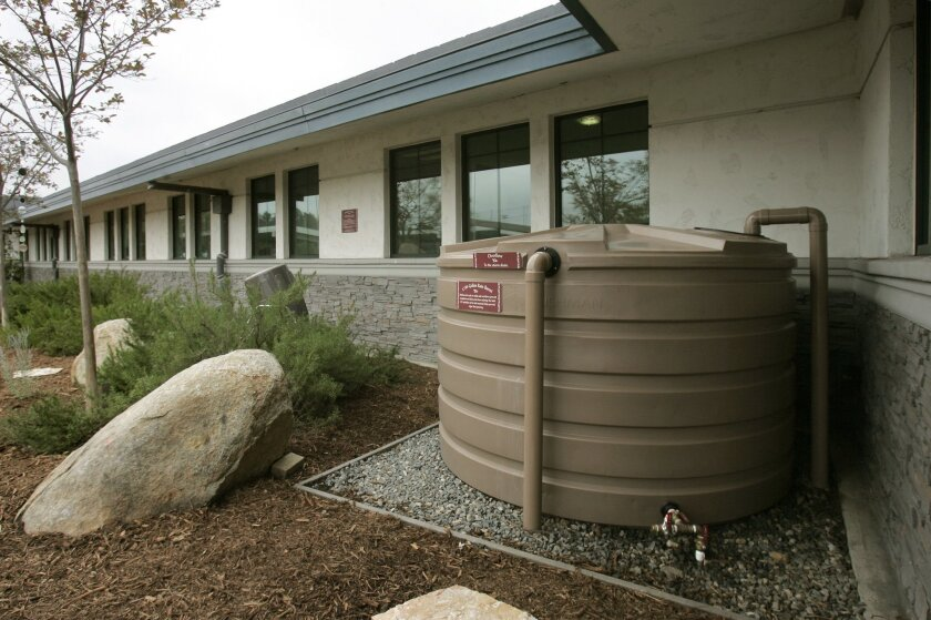 This rain-collection barrel in the Vallecitos Water District garden holds 1,110 gallons of water.