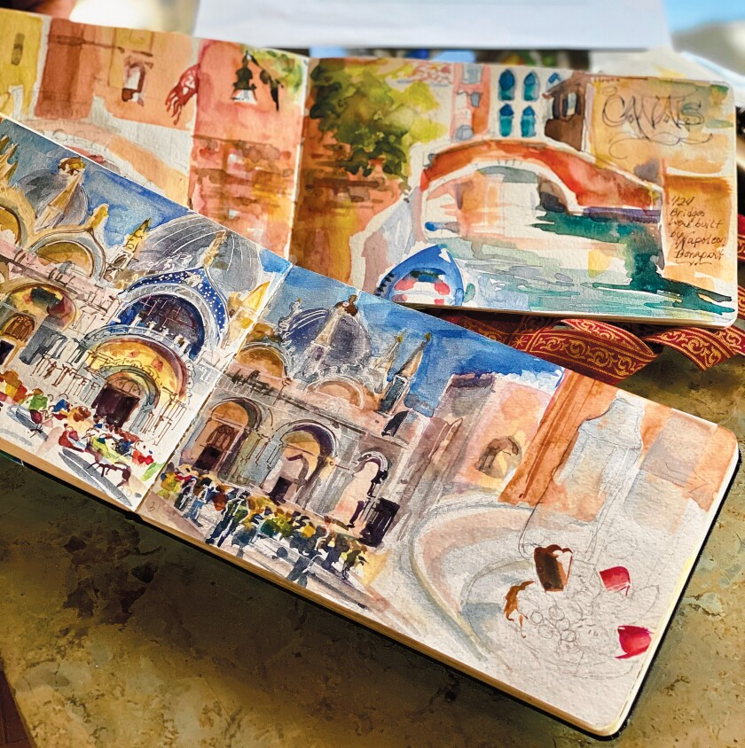 Cherry Sweig's travel journals are full of her watercolors, which serve as the preliminary versions of the canvassed paintings she created for the show. Cherry Sweig's art exhbit, 'Finding Venetian Angels,' is on display Feb. 28-April 12, 2020 at St. James by-the-Sea Episcopal Church's Gallery by-the-Sea, 743 Prospect St., La Jolla. The exhibit can be viewed 12:30-3 p.m. Wednesdays, 11 a.m. to 2 p.m. Saturdays, and 8:30-10 a.m. and 11 a.m. to 2 p.m.