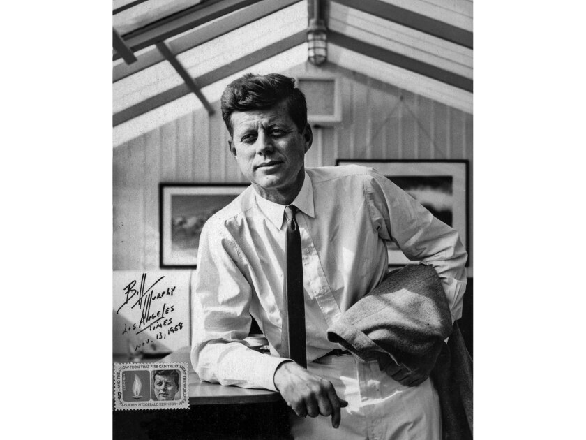 A portrait of Sen. John Kennedy taken on Nov. 13, 1958, during an informal news conference at the Santa Monica home of his brother-in-law actor Peter Lawford.