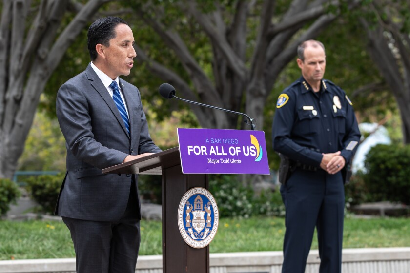 Mayor Todd Gloria speaks about data found by the Center for Policing Equity on policing practices.