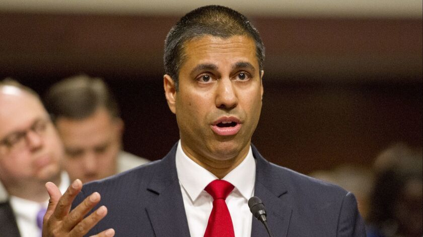 FCC Chairman Ajit Pai, on Capitol Hill in 2017, defends his plan to eviscerate net neutrality rules.