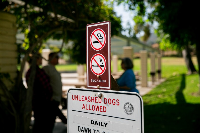 New signs went in place Thursday as Santee officials and supporters announce a ban on smoking in Santee parks.