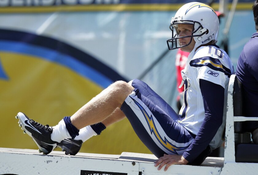 Nate Kaeding was carted off the field after tearing his ACL on the opening kickoff of the 2011 season.