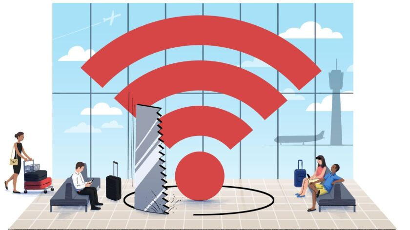 ONE TIME USE - ON THE SPOT illustration for December 9 column about airport WIFI security. (Michael