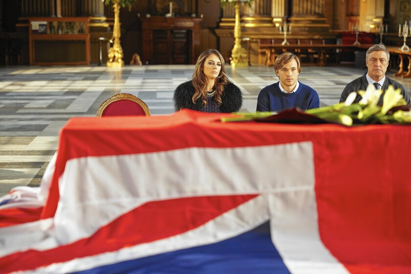 Elizabeth Hurley as the Queen, William Moseley as Prince Liam and Vincent Regan as the King.