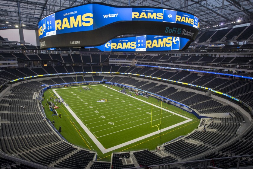 Rams play a scrimmage for the first time at an empty SoFi Stadium.