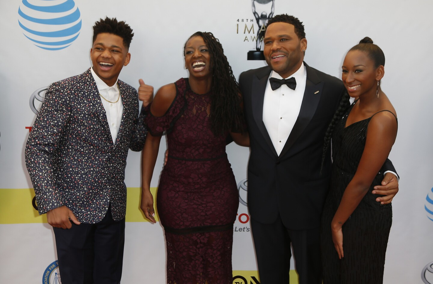 Host Anthony Anderson, second from right, wife Alvina Stewart and children Kyra Anderson and Nathan Anderson at the NAACP Image Awards.