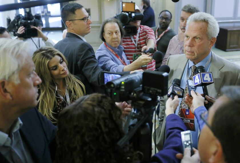 New York Giants owner Steve Tisch speaks to the media after a morning session at an NFL owners meeting in Irving, Texas, on Wednesday.
