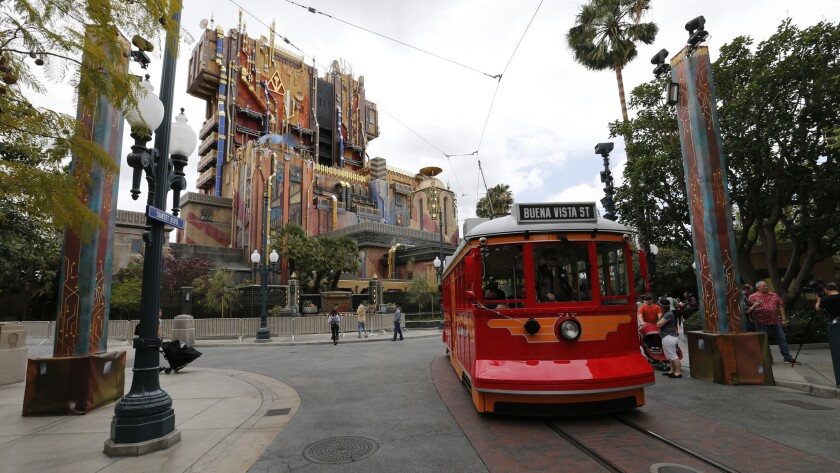 Exterior view of the Guardians of the Galaxy: Mission Breakout ride in Anaheim.