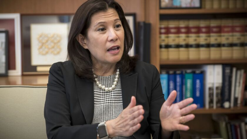 California Supreme Court Chief Justice Tani Cantil-Sakauye speaks in her downtown San Francisco offi
