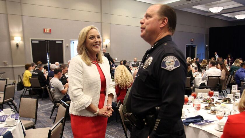 Supervisor Kathryn Barger and Glendale Police Chief Carl Povilaitis during the 5th Annual Burbank
