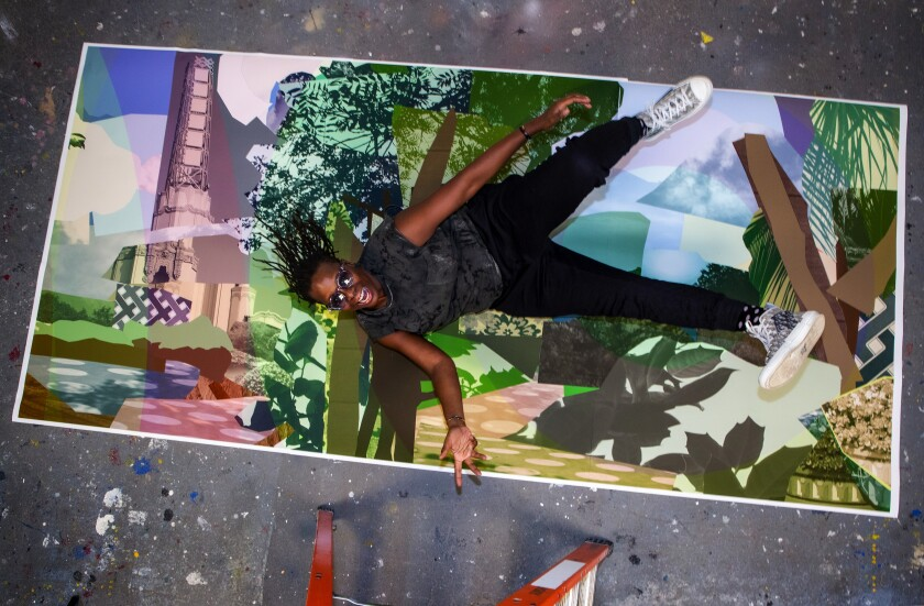 Artist Mickalene Thomas with artwork that will be at one of the stations on Metro's Crenshaw/LAX Line set to open next year.