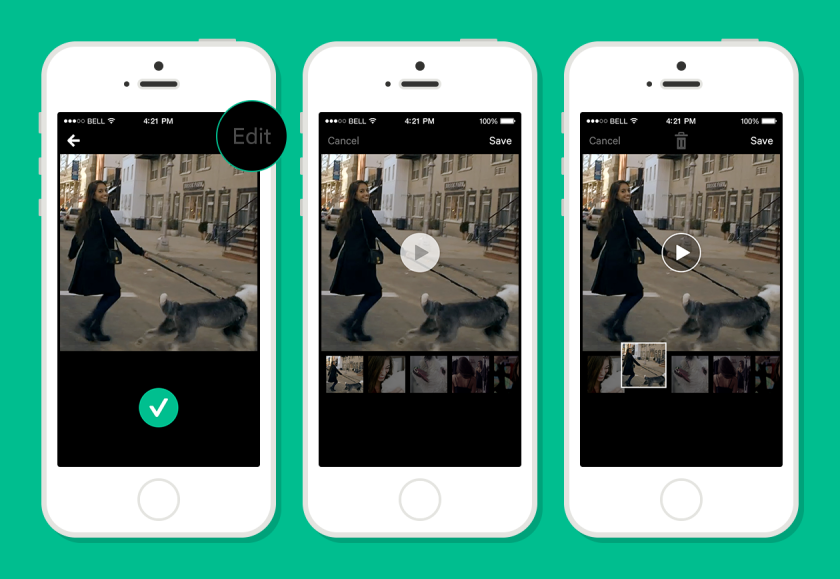 """Vine's new """"Time Travel"""" feature allows users to edit their videos by reorganizing their shots before posting."""
