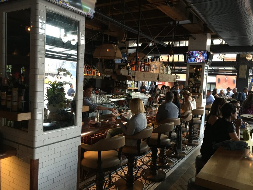 The bar area of Water Grill in the Gaslamp Quarter, photographed on its opening day in 2014.