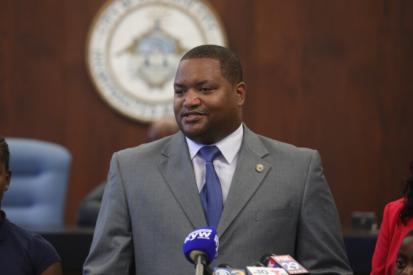 Marty Small speaks at a swearing-in ceremony in Atlantic City, N.J. on Friday Oct. 4, 2019, after becoming the gambling resort's acting mayor. His predecessor, Frank Gilliam Jr., resigned a day earlier after pleading guilty to stealing $87,000 from a youth basketball team. (Edward Lea/The Press of Atlantic City via AP)