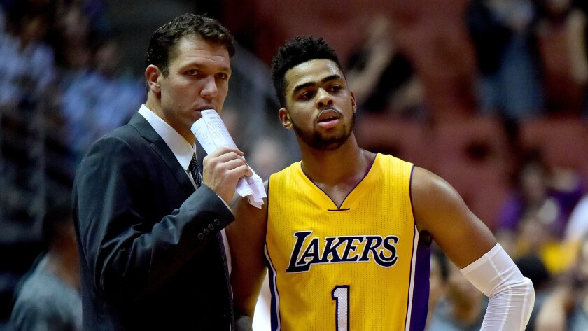 """Lakers Coach Luke Walton says D'Angelo Russell, shown during an Oct. 21 game against Phoenix, is """"a big part of what we do and we're not going to rush him at all."""""""