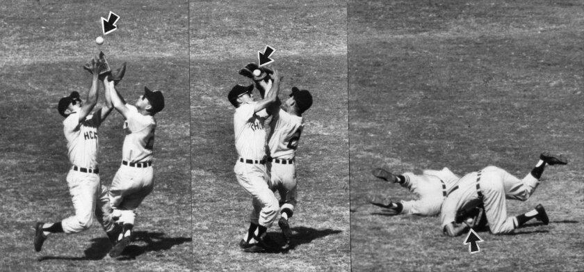 Oct. 6, 1959: In a three photo sequence, Chicago White Sox infielders Nellie Fox, right, and Luis Aparicio are on a collision course as they race into short left field in pursuit of Dodger Gil Hodges' second-inning fly. Players collided, but Aparicio, after falling backward, held on to the ball for the out.