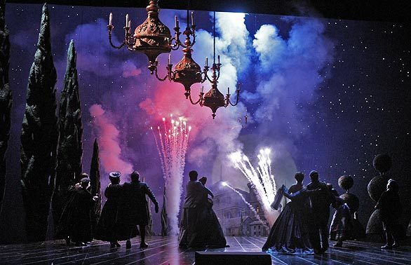 """Los Angeles Opera's recurring production of """"The Marriage of Figaro,"""" directed by Ian Judge, mixes a bit of Franco's Spain with a bit of '50s Hollywood, a bit of vulgar tomfoolery and a few real fireworks at the end. First seen in 2004, the production is on stage again, populated with an international cast."""