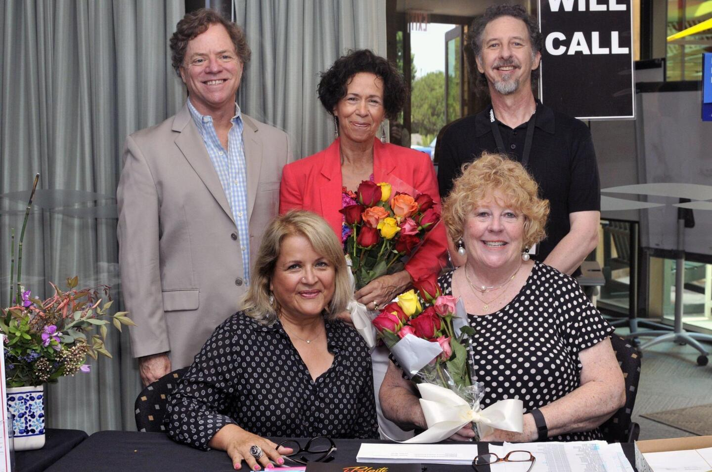 City of Encinitas' Arts Administrator Jim Gilliam, Assistant Arts Administrator Cheryl Ehlers, Eduard Schwan (www.SchwanSongs.com). Front row: Encinitas Friends of the Arts President/musician host Naimeh Tanha Woodward, Encinitas Commission for the Arts Chair Judy Thum