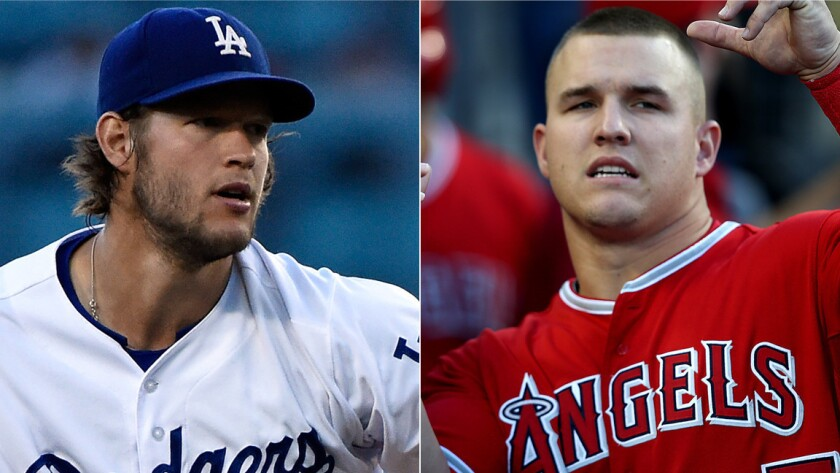 Dodgers ace Clayton Kershaw, left, and Angels star Mike Trout each are looking to lead their respective teams to postseason glory.