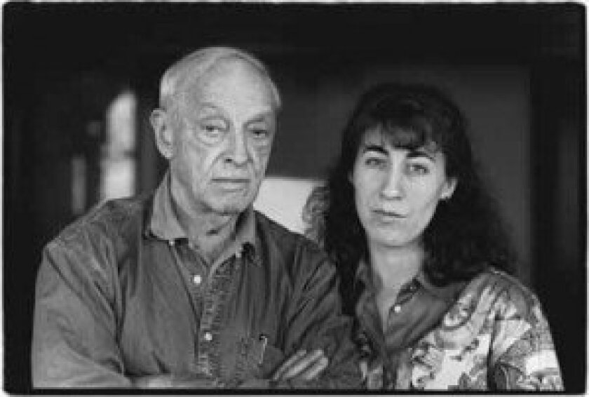 Saul Bellow and his young wife.