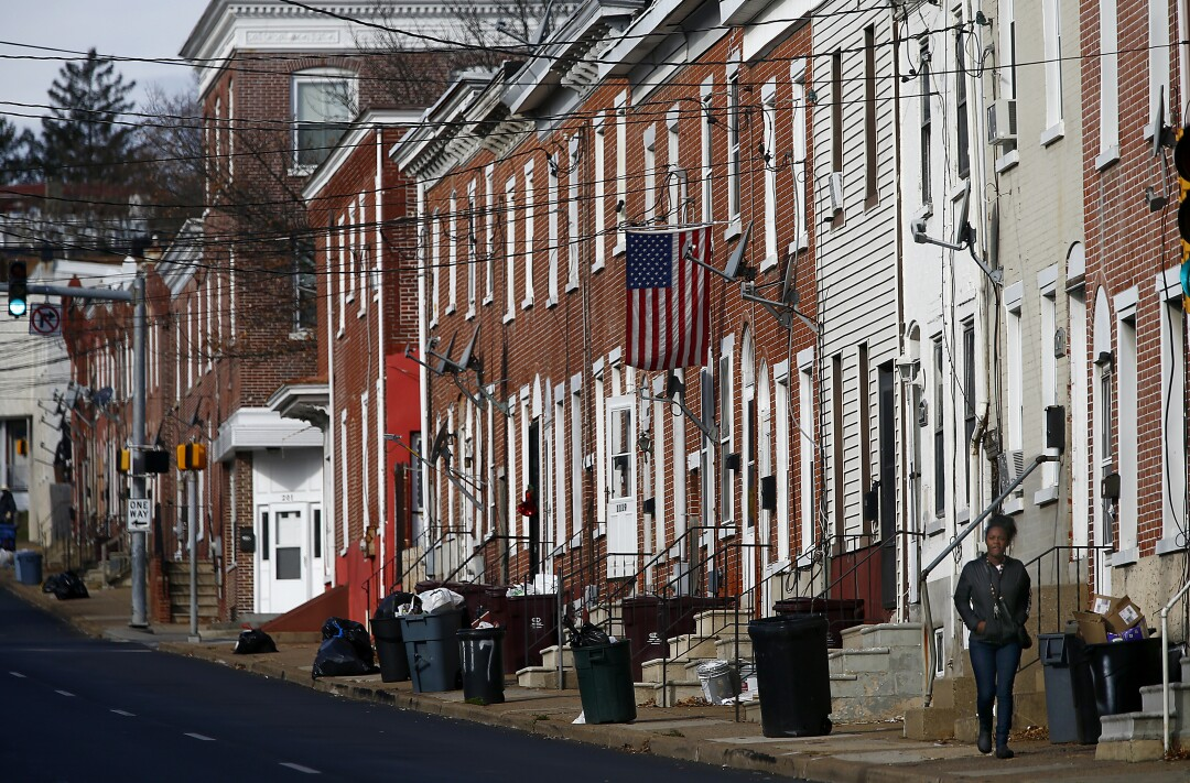 Row houses along 2nd Street in West Wilmington, Del.