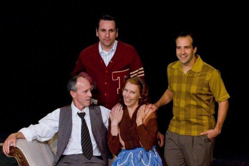 "Jack Missett, John DeCarlo, Dana Case and Greg Wittman (left to right) in New Village Arts Theatre's ""Death of a Salesman."""