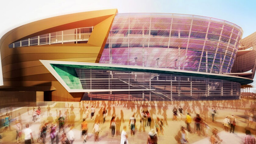 An artist's rendering of the Las Vegas arena being built by AEG and MGM.